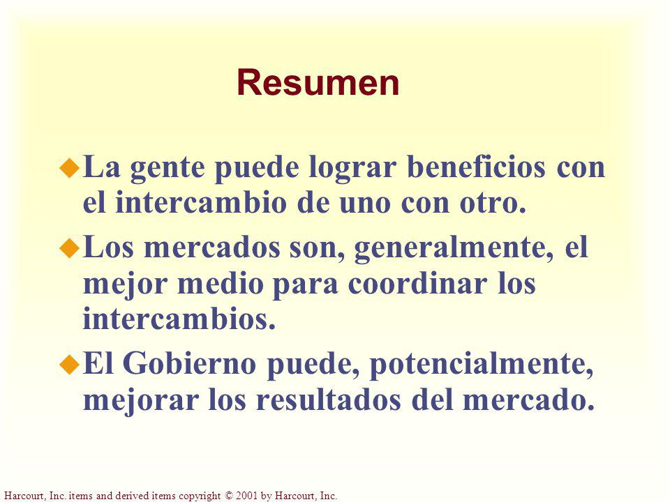 Harcourt, Inc. items and derived items copyright © 2001 by Harcourt, Inc. Resumen u La gente puede lograr beneficios con el intercambio de uno con otr