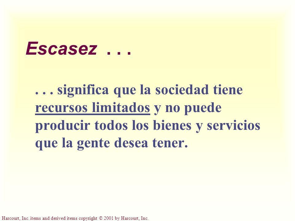 Harcourt, Inc. items and derived items copyright © 2001 by Harcourt, Inc. Escasez...... significa que la sociedad tiene recursos limitados y no puede