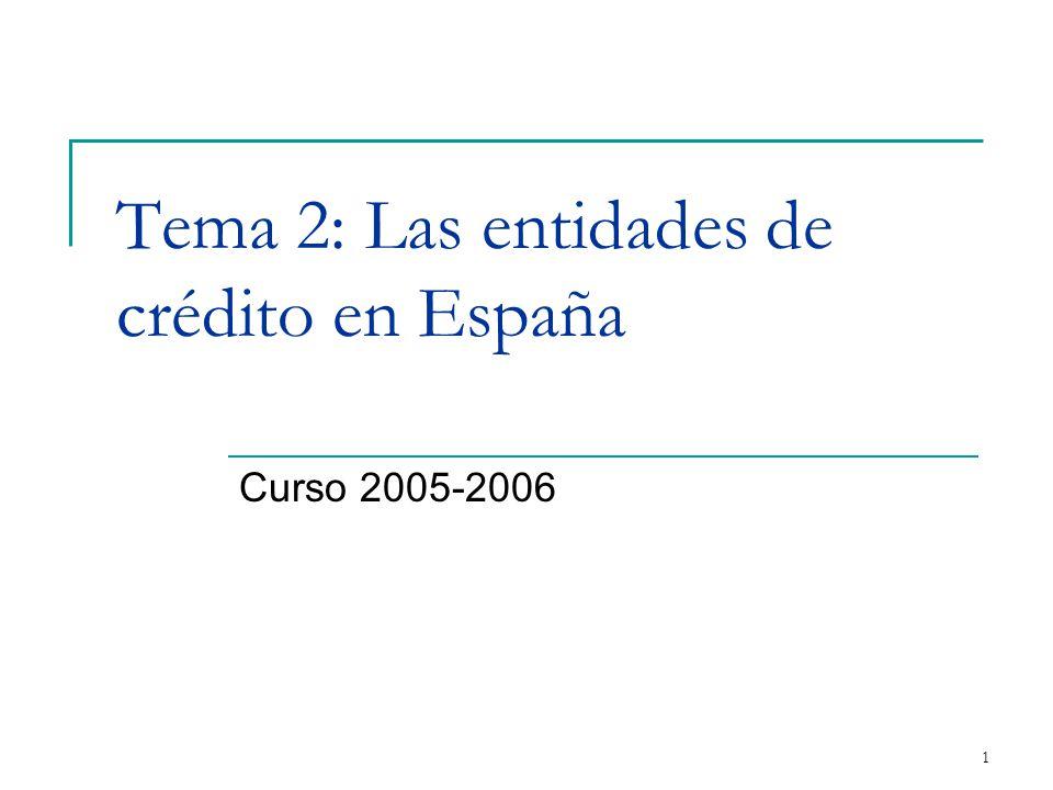 1 Tema 2: Las entidades de crédito en España Curso 2005-2006