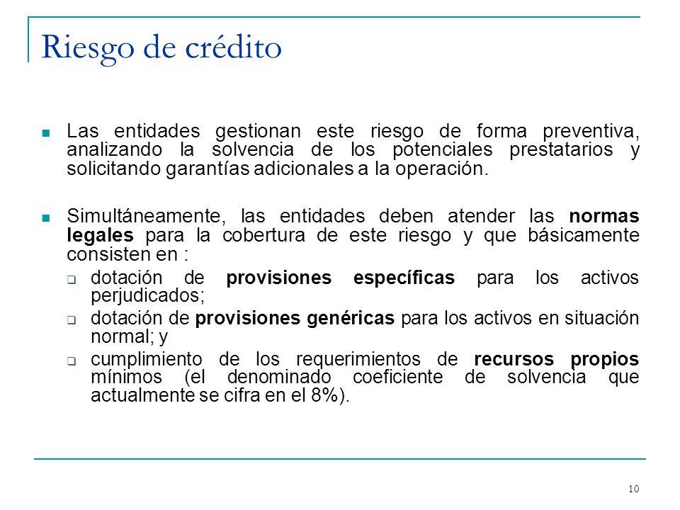 10 Riesgo de crédito Las entidades gestionan este riesgo de forma preventiva, analizando la solvencia de los potenciales prestatarios y solicitando garantías adicionales a la operación.