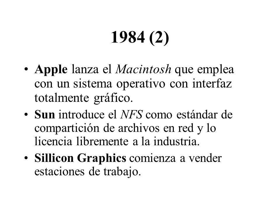 1984 (2) Apple lanza el Macintosh que emplea con un sistema operativo con interfaz totalmente gráfico. Sun introduce el NFS como estándar de compartic