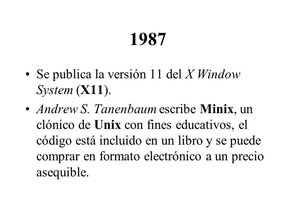 1987 Se publica la versión 11 del X Window System (X11). Andrew S. Tanenbaum escribe Minix, un clónico de Unix con fines educativos, el código está in