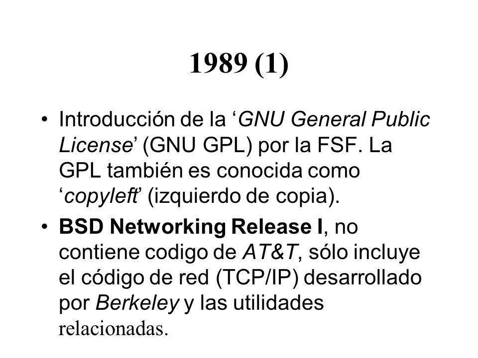 1989 (1) Introducción de la GNU General Public License (GNU GPL) por la FSF. La GPL también es conocida comocopyleft (izquierdo de copia). BSD Network