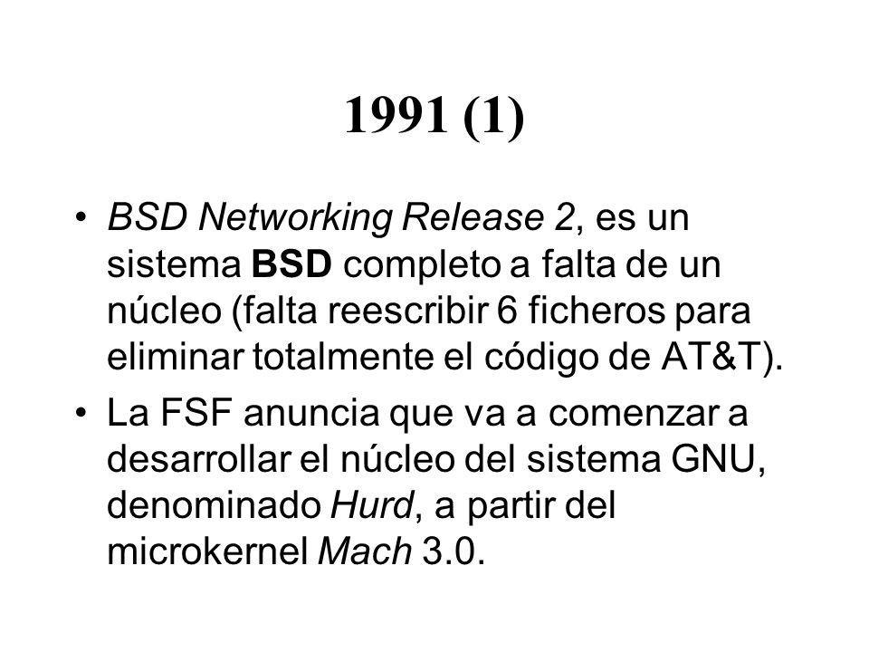 1991 (1) BSD Networking Release 2, es un sistema BSD completo a falta de un núcleo (falta reescribir 6 ficheros para eliminar totalmente el código de