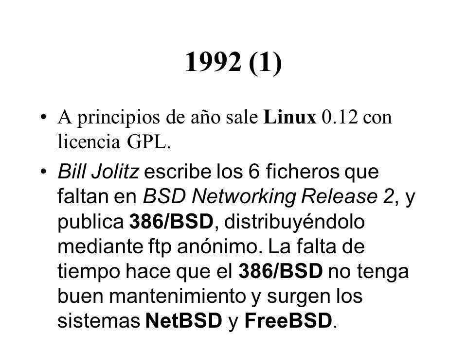 1992 (1) A principios de año sale Linux 0.12 con licencia GPL. Bill Jolitz escribe los 6 ficheros que faltan en BSD Networking Release 2, y publica 38