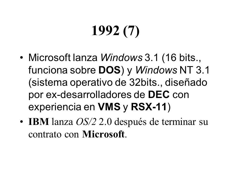 1992 (7) Microsoft lanza Windows 3.1 (16 bits., funciona sobre DOS) y Windows NT 3.1 (sistema operativo de 32bits., diseñado por ex-desarrolladores de DEC con experiencia en VMS y RSX-11) IBM lanza OS/2 2.0 después de terminar su contrato con Microsoft.