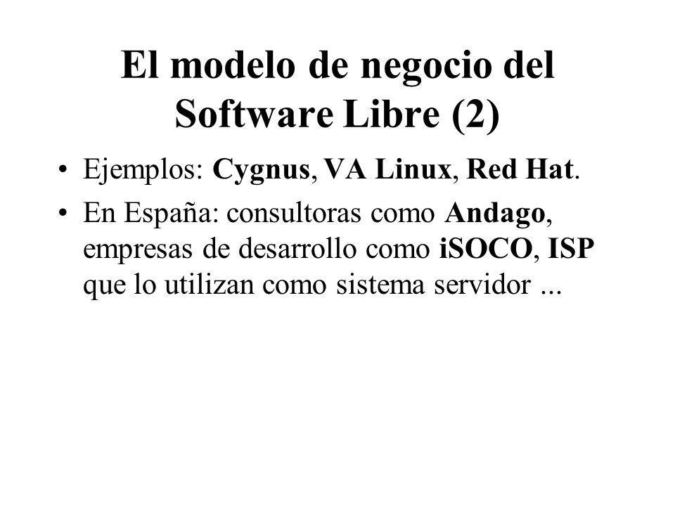 El modelo de negocio del Software Libre (2) Ejemplos: Cygnus, VA Linux, Red Hat. En España: consultoras como Andago, empresas de desarrollo como iSOCO
