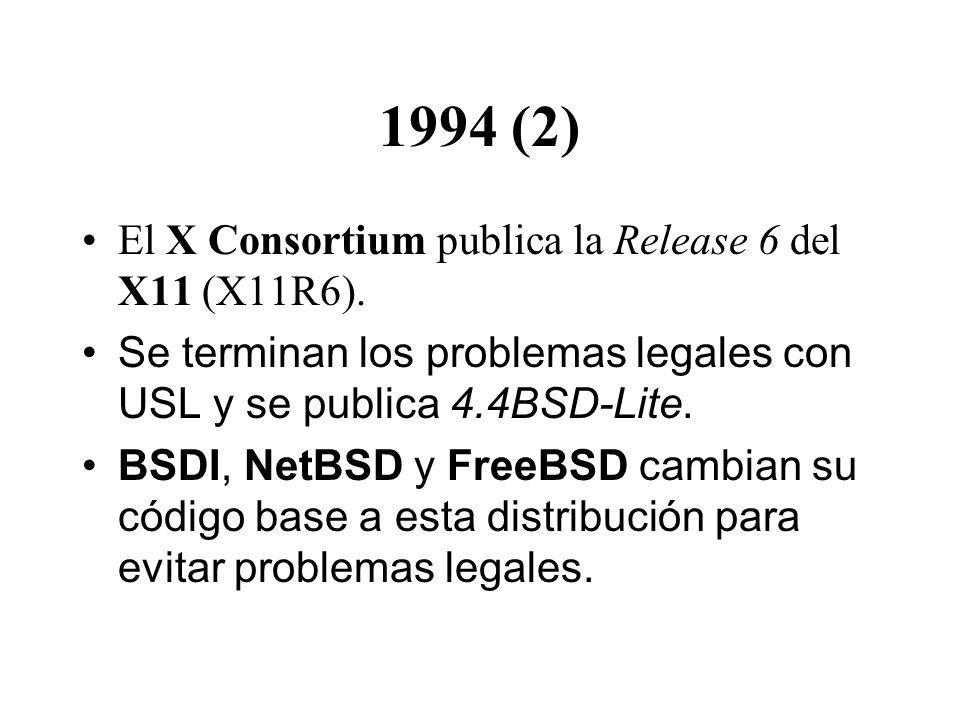 1994 (2) El X Consortium publica la Release 6 del X11 (X11R6). Se terminan los problemas legales con USL y se publica 4.4BSD-Lite. BSDI, NetBSD y Free