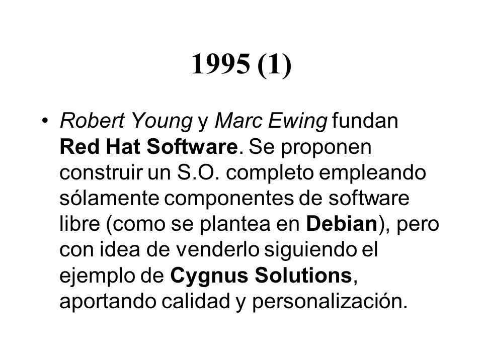 1995 (1) Robert Young y Marc Ewing fundan Red Hat Software. Se proponen construir un S.O. completo empleando sólamente componentes de software libre (