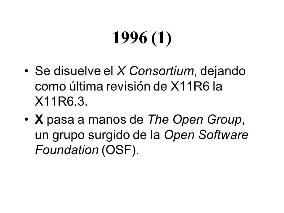 1996 (1) Se disuelve el X Consortium, dejando como última revisión de X11R6 la X11R6.3. X pasa a manos de The Open Group, un grupo surgido de la Open