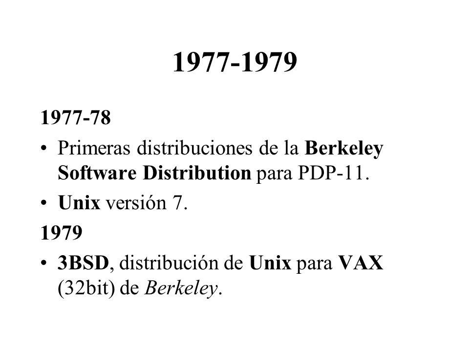 1977-1979 1977-78 Primeras distribuciones de la Berkeley Software Distribution para PDP-11. Unix versión 7. 1979 3BSD, distribución de Unix para VAX (