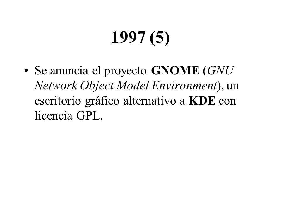 1997 (5) Se anuncia el proyecto GNOME (GNU Network Object Model Environment), un escritorio gráfico alternativo a KDE con licencia GPL.