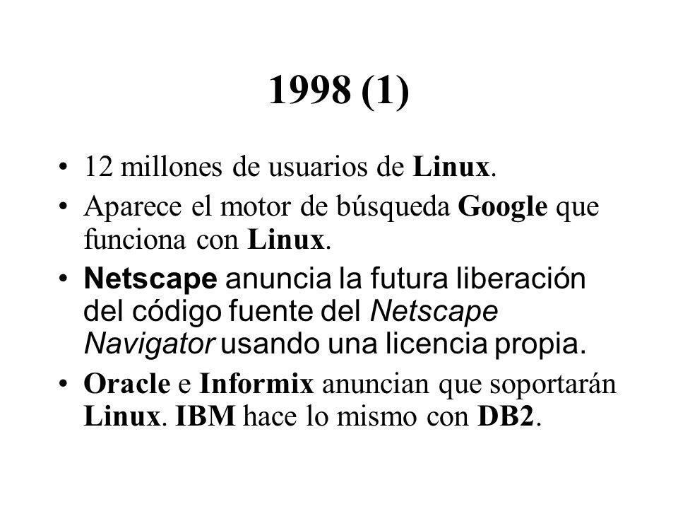 1998 (1) 12 millones de usuarios de Linux. Aparece el motor de búsqueda Google que funciona con Linux. Netscape anuncia la futura liberación del códig