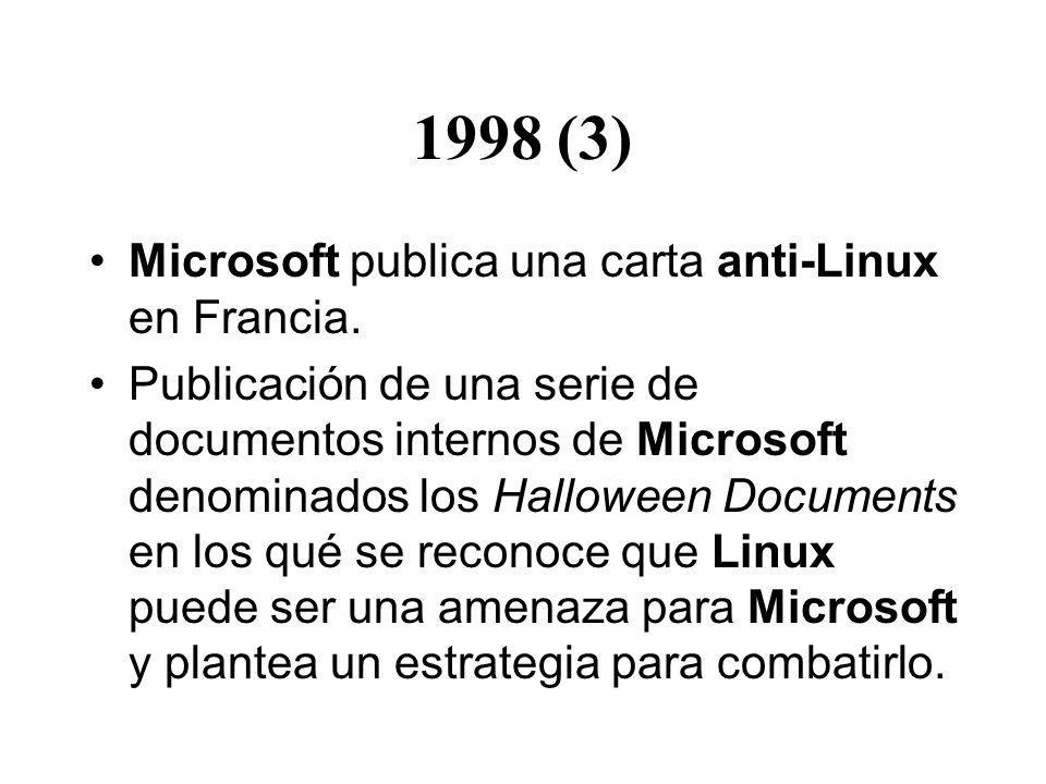 1998 (3) Microsoft publica una carta anti-Linux en Francia. Publicación de una serie de documentos internos de Microsoft denominados los Halloween Doc