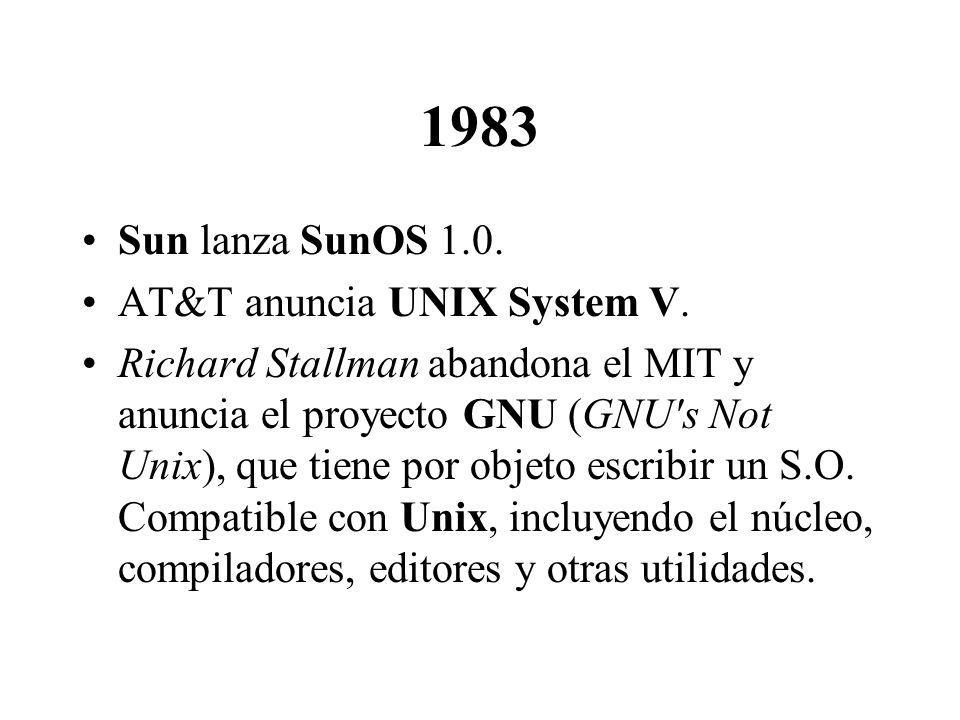 1983 Sun lanza SunOS 1.0. AT&T anuncia UNIX System V. Richard Stallman abandona el MIT y anuncia el proyecto GNU (GNU's Not Unix), que tiene por objet