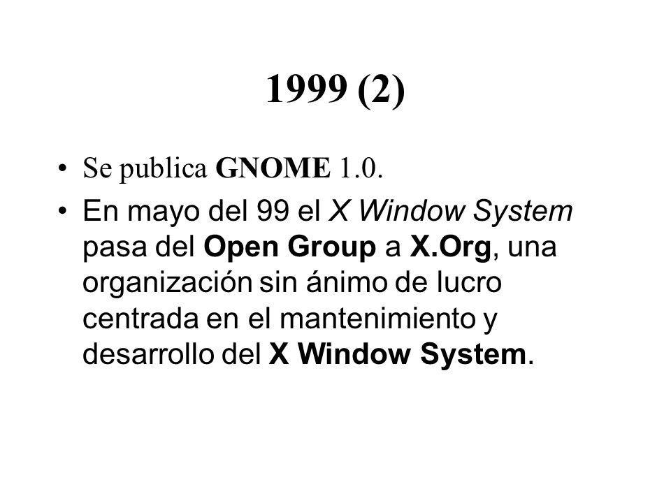 1999 (2) Se publica GNOME 1.0. En mayo del 99 el X Window System pasa del Open Group a X.Org, una organización sin ánimo de lucro centrada en el mante