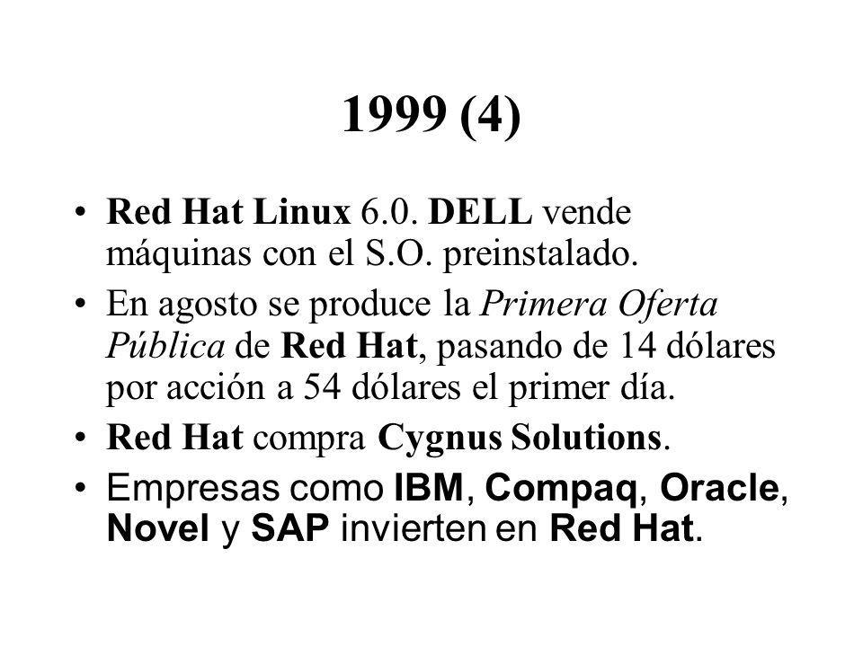1999 (4) Red Hat Linux 6.0. DELL vende máquinas con el S.O. preinstalado. En agosto se produce la Primera Oferta Pública de Red Hat, pasando de 14 dól