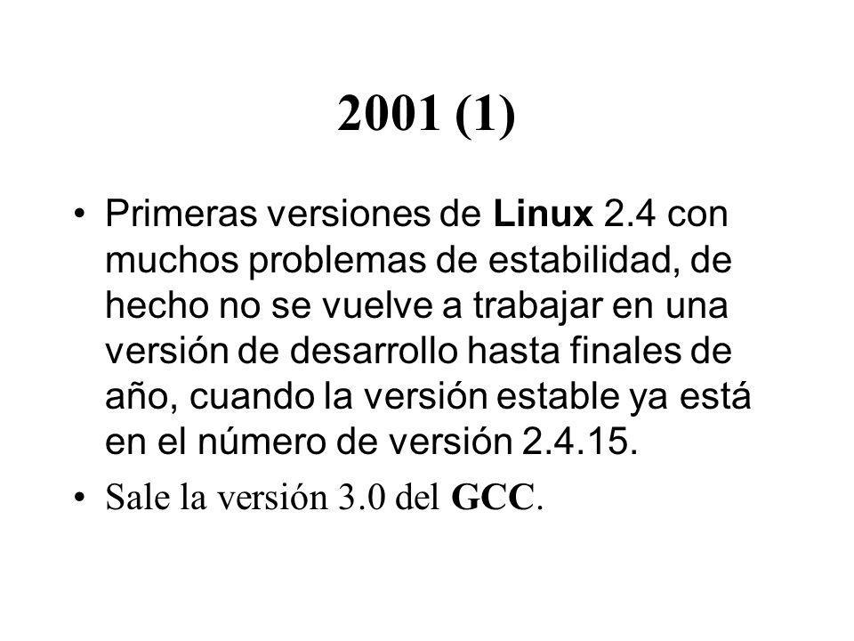 2001 (1) Primeras versiones de Linux 2.4 con muchos problemas de estabilidad, de hecho no se vuelve a trabajar en una versión de desarrollo hasta finales de año, cuando la versión estable ya está en el número de versión 2.4.15.