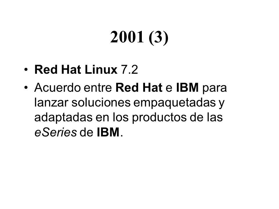 2001 (3) Red Hat Linux 7.2 Acuerdo entre Red Hat e IBM para lanzar soluciones empaquetadas y adaptadas en los productos de las eSeries de IBM.