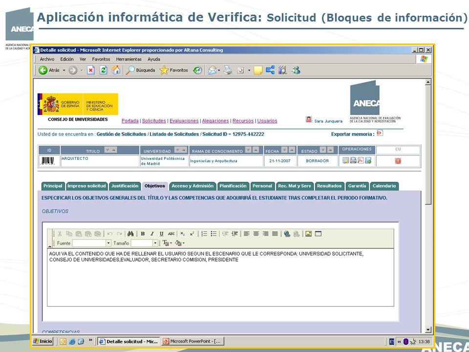 Aplicación informática de Verifica: Solicitud (Bloques de información)