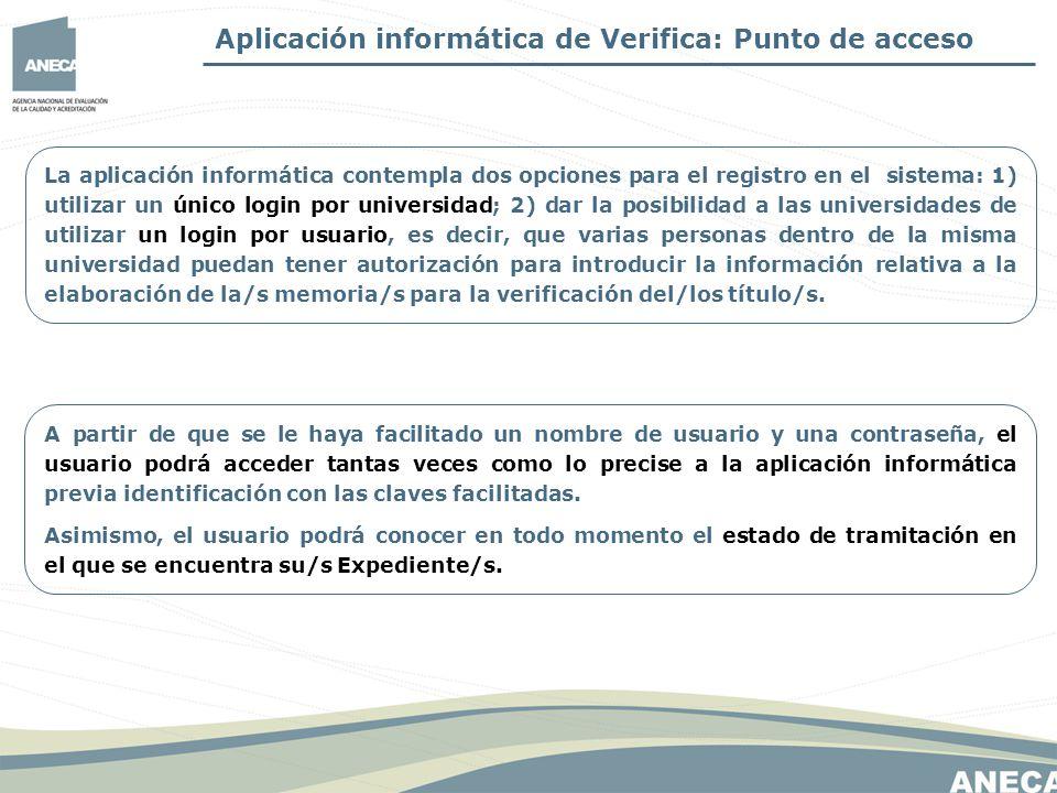 Aplicación informática de Verifica: Punto de acceso La aplicación informática contempla dos opciones para el registro en el sistema: 1) utilizar un ún