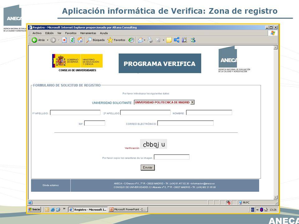 Aplicación informática de Verifica: Zona de registro PROGRAMA VERIFICA