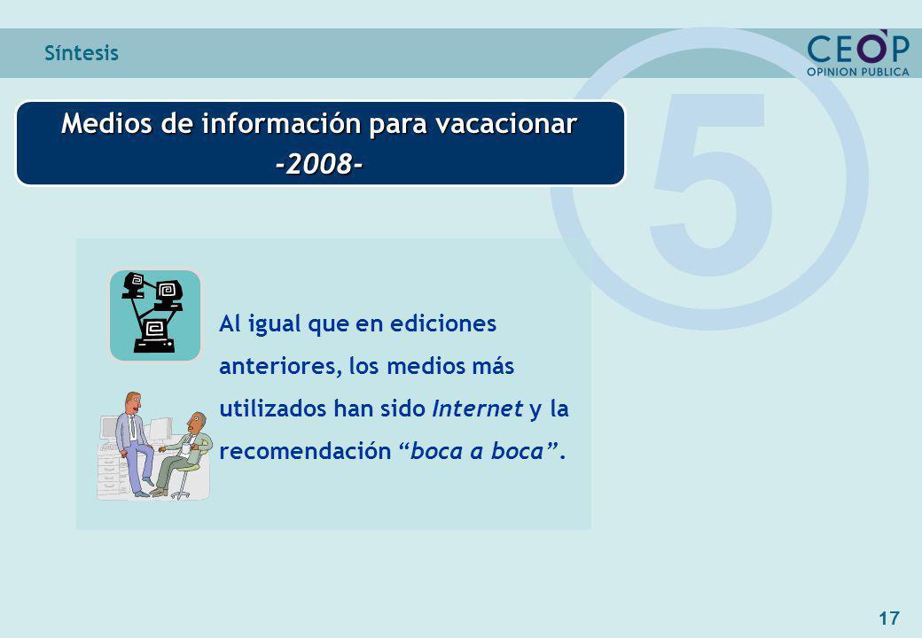 17 Síntesis Medios de información para vacacionar -2008- 5 Al igual que en ediciones anteriores, los medios más utilizados han sido Internet y la recomendación boca a boca.