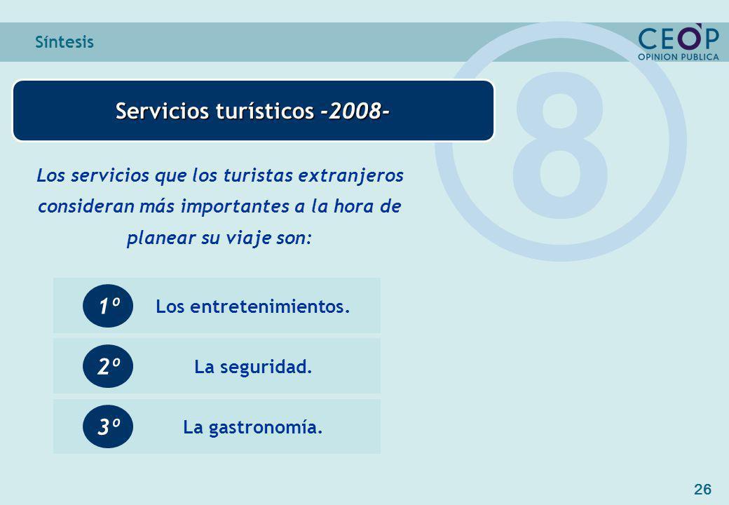 26 Síntesis Servicios turísticos -2008- 8 Los servicios que los turistas extranjeros consideran más importantes a la hora de planear su viaje son: Los entretenimientos.