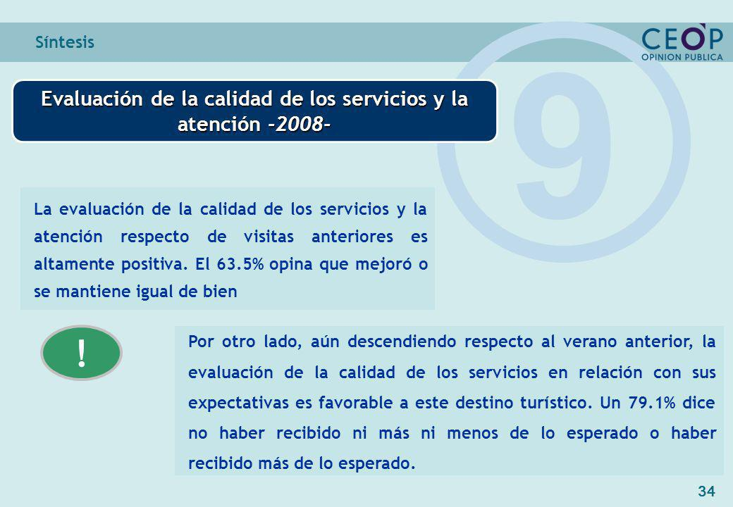 34 Síntesis Evaluación de la calidad de los servicios y la atención -2008- 9 La evaluación de la calidad de los servicios y la atención respecto de visitas anteriores es altamente positiva.