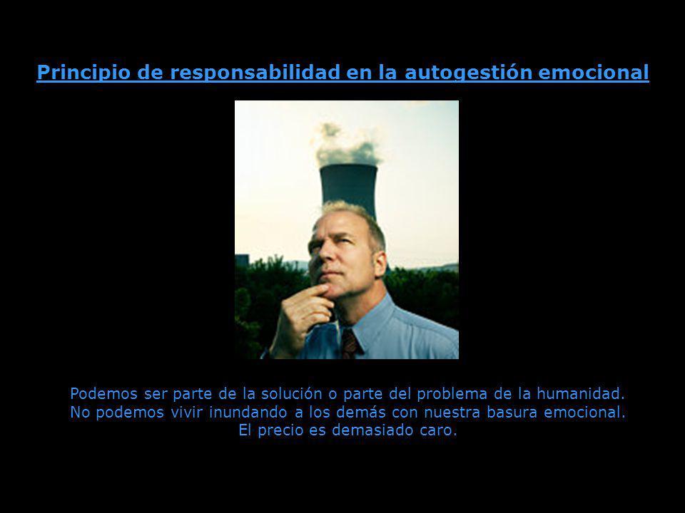 Principio de responsabilidad en la autogestión emocional Podemos ser parte de la solución o parte del problema de la humanidad.