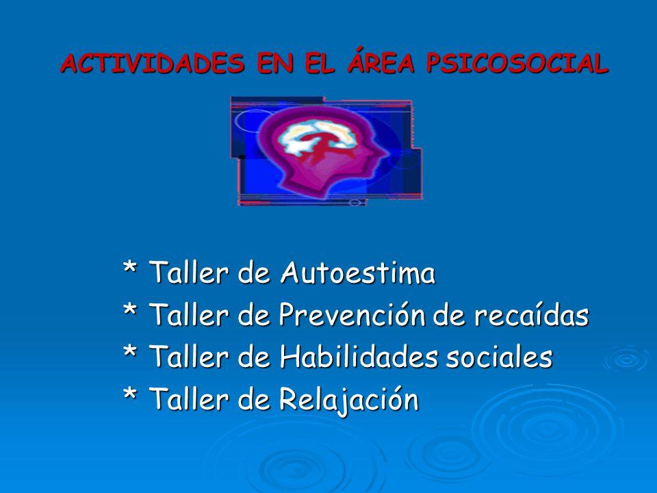 ACTIVIDADES EN EL ÁREA PSICOSOCIAL * Taller de Autoestima * Taller de Autoestima * Taller de Prevención de recaídas * Taller de Prevención de recaídas