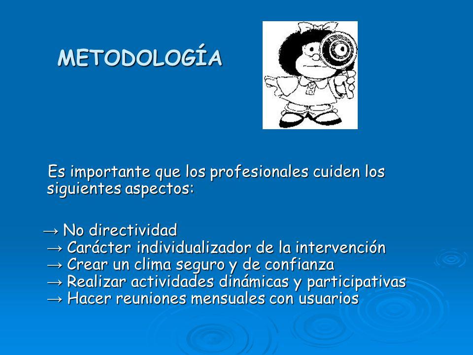METODOLOGÍA Es importante que los profesionales cuiden los siguientes aspectos: Es importante que los profesionales cuiden los siguientes aspectos: No