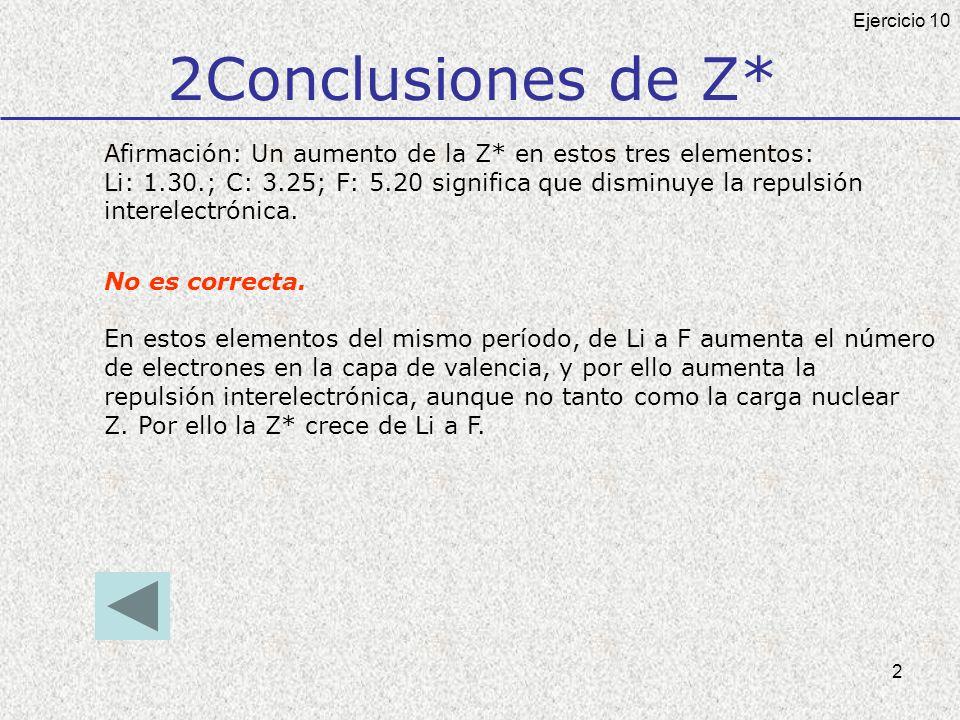 2 2Conclusiones de Z* Afirmación: Un aumento de la Z* en estos tres elementos: Li: 1.30.; C: 3.25; F: 5.20 significa que disminuye la repulsión interelectrónica.