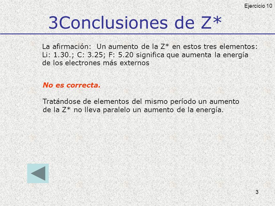 3 3Conclusiones de Z* No es correcta. Tratándose de elementos del mismo período un aumento de la Z* no lleva paralelo un aumento de la energía. Ejerci