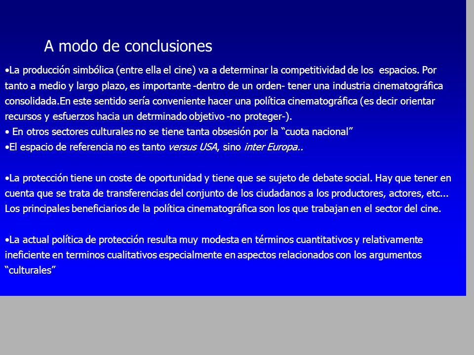 EL CINE ESPAÑOL FRENTE A HOLLYWOOD València - Nov 2002 A modo de conclusiones La producción simbólica (entre ella el cine) va a determinar la competit
