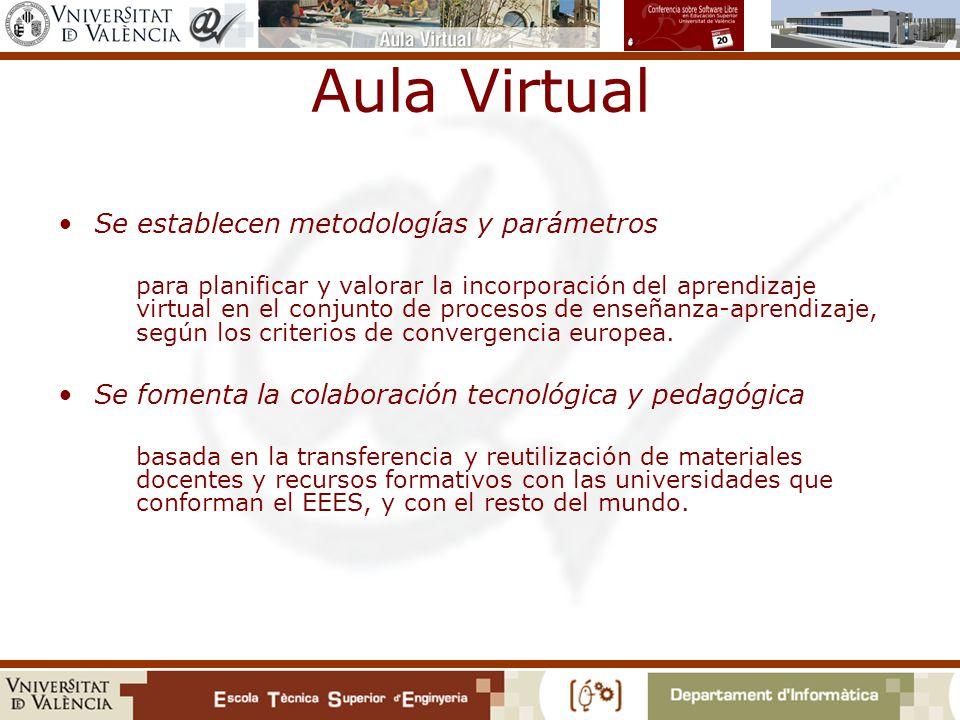 Aula Virtual Se establecen metodologías y parámetros para planificar y valorar la incorporación del aprendizaje virtual en el conjunto de procesos de enseñanza-aprendizaje, según los criterios de convergencia europea.