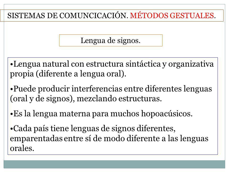 Lengua de signos. SISTEMAS DE COMUNCICACIÓN. MÉTODOS GESTUALES. Lengua natural con estructura sintáctica y organizativa propia (diferente a lengua ora