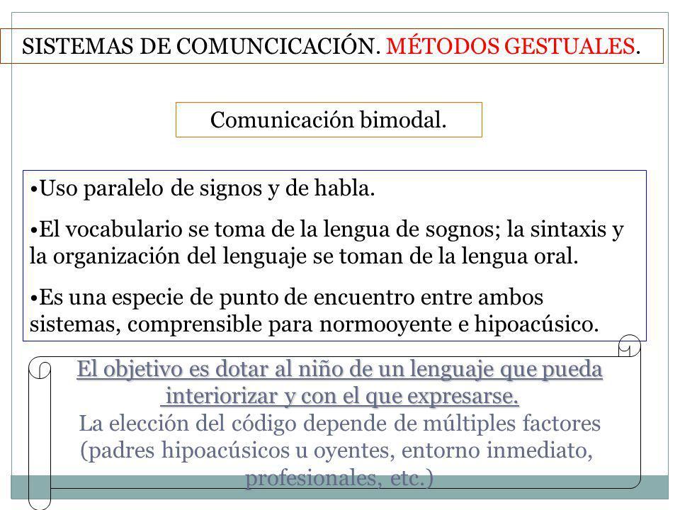Comunicación bimodal. SISTEMAS DE COMUNCICACIÓN. MÉTODOS GESTUALES. Uso paralelo de signos y de habla. El vocabulario se toma de la lengua de sognos;