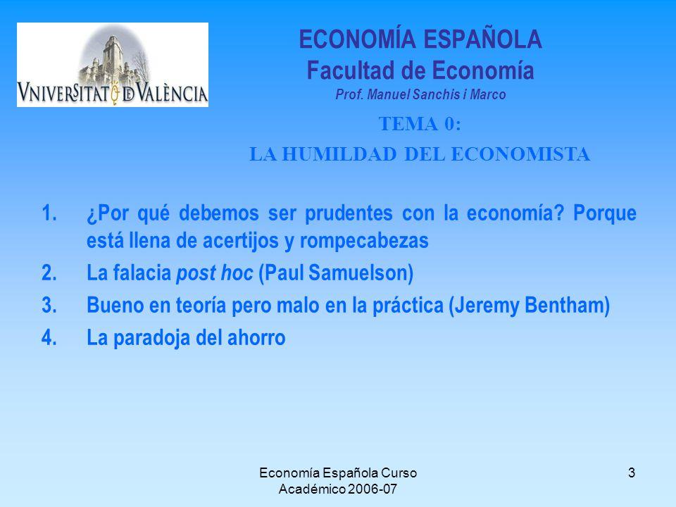Economía Española Curso Académico 2006-07 3 ECONOMÍA ESPAÑOLA Facultad de Economía Prof. Manuel Sanchis i Marco 1.¿Por qué debemos ser prudentes con l