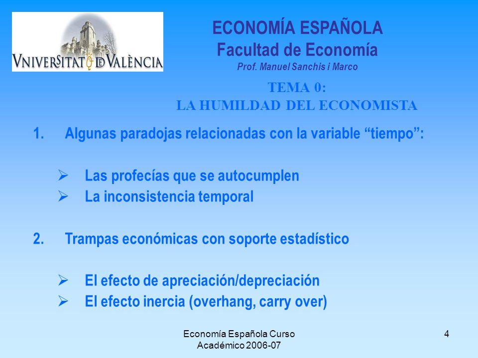 Economía Española Curso Académico 2006-07 4 1.Algunas paradojas relacionadas con la variable tiempo: Las profecías que se autocumplen La inconsistenci