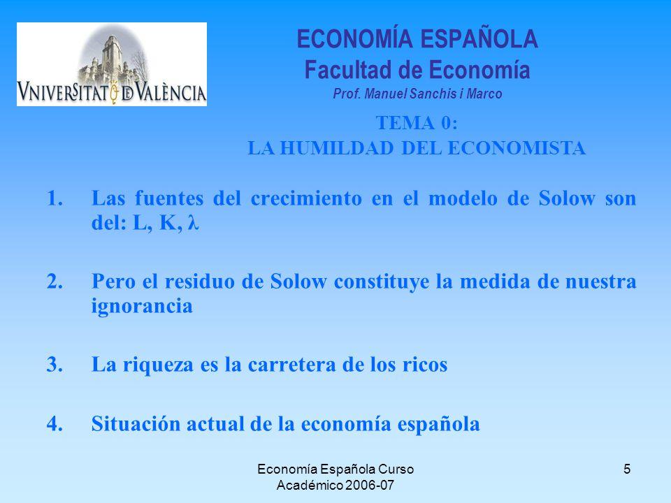 Economía Española Curso Académico 2006-07 5 ECONOMÍA ESPAÑOLA Facultad de Economía Prof. Manuel Sanchis i Marco TEMA 0: LA HUMILDAD DEL ECONOMISTA 1.L