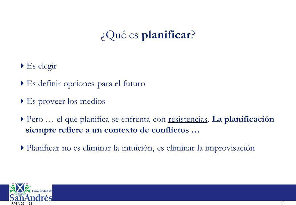 18 RPBA-021-133 ¿Qué es planificar? Es elegir Es definir opciones para el futuro Es proveer los medios Pero … el que planifica se enfrenta con resiste
