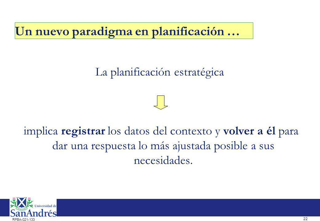 22 RPBA-021-133 Un nuevo paradigma en planificación … La planificación estratégica implica registrar los datos del contexto y volver a él para dar una