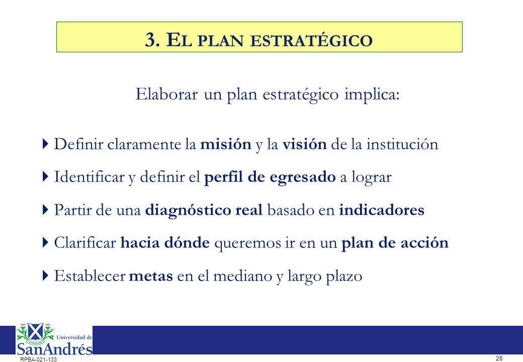 26 RPBA-021-133 Elaborar un plan estratégico implica: Definir claramente la misión y la visión de la institución Identificar y definir el perfil de eg