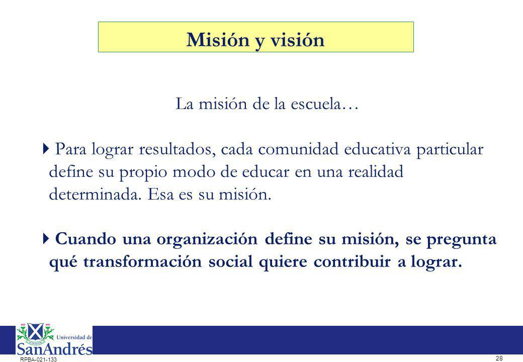 28 RPBA-021-133 La misión de la escuela… Para lograr resultados, cada comunidad educativa particular define su propio modo de educar en una realidad d
