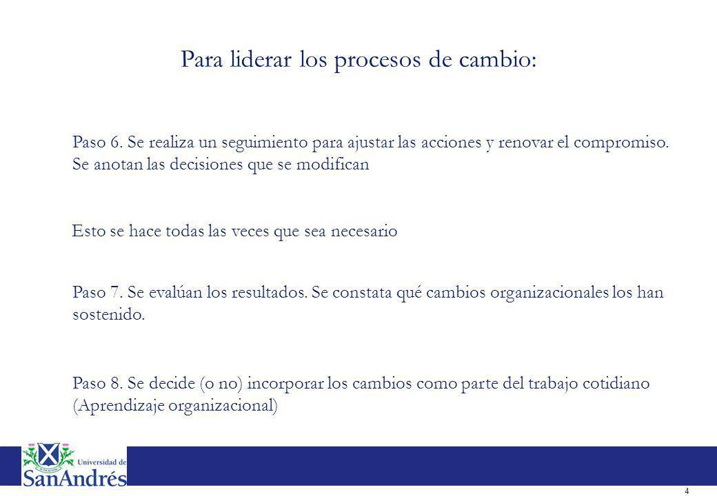 4 Paso 6. Se realiza un seguimiento para ajustar las acciones y renovar el compromiso. Se anotan las decisiones que se modifican Paso 7. Se evalúan lo