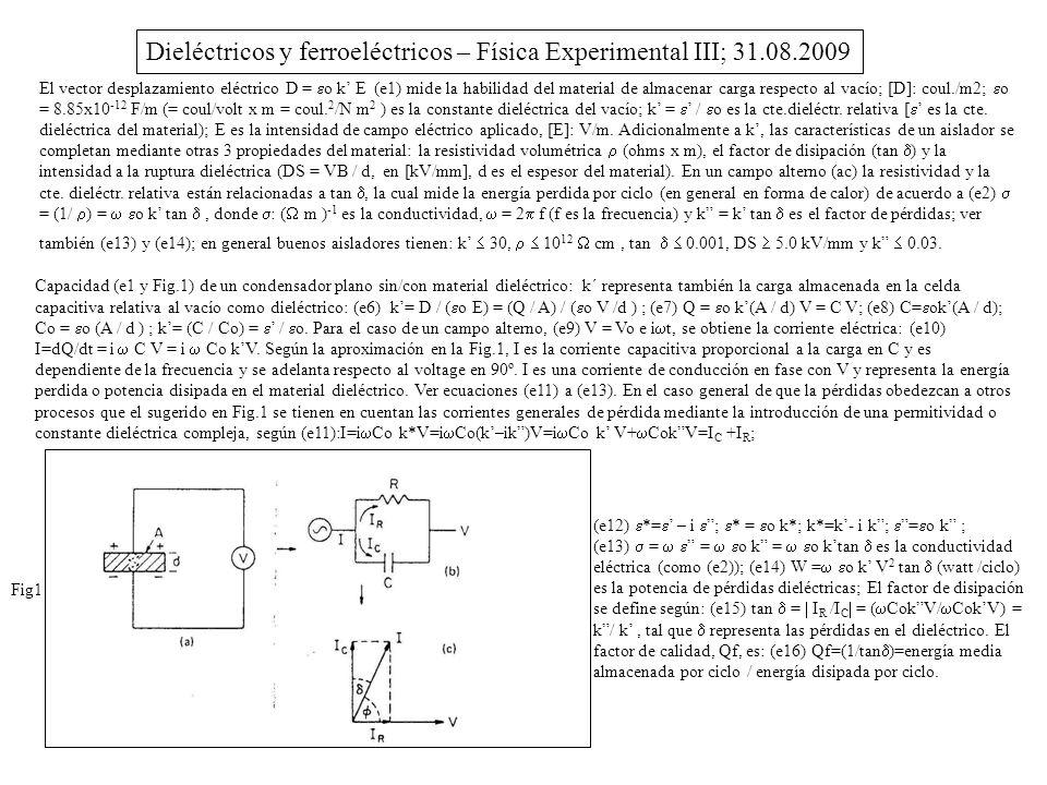 Dieléctricos y ferroeléctricos – Física Experimental III; 31.08.2009 El vector desplazamiento eléctrico D = o k E (e1) mide la habilidad del material