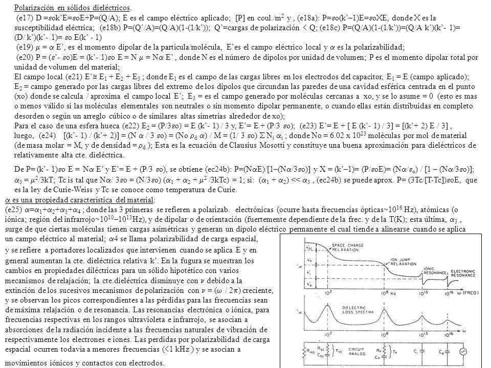 Polarización en sólidos dieléctricos. (e17) D = okE= oE+P=(Q/A); E es el campo eléctrico aplicado; [P] en coul./m 2 y, (e18a): P= o(k–1)E= o E, donde
