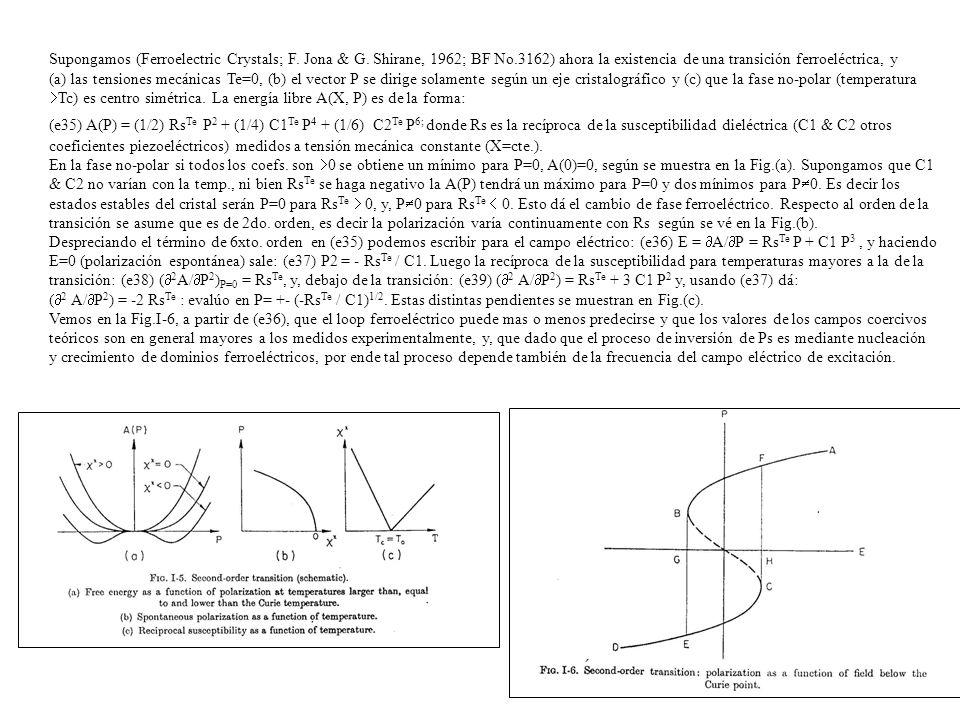 Supongamos (Ferroelectric Crystals; F. Jona & G. Shirane, 1962; BF No.3162) ahora la existencia de una transición ferroeléctrica, y (a) las tensiones