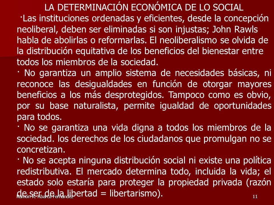Ramón R. Abarca Fernández11 LA DETERMINACIÓN ECONÓMICA DE LO SOCIAL ·Las instituciones ordenadas y eficientes, desde la concepción neoliberal, deben s